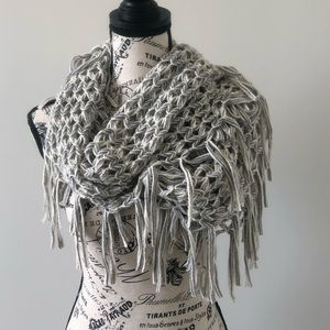 Accessories - Gray fringe infinity scarf